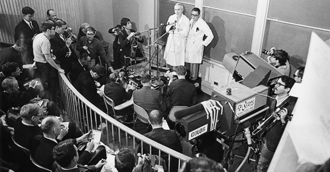 Norman Shumway and cardiologist Donald C. Harrison speak to the media after the historic 1968 transplant surgery (Getty Images).