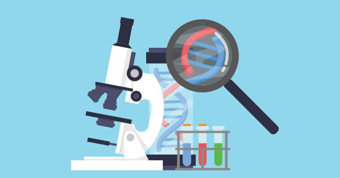 illustration of a microscope, and a magnifying glass studying a DNA sample